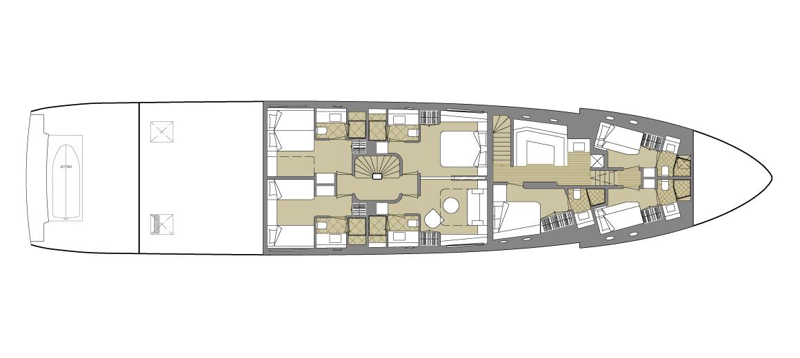 Explorer yacht 110 - Lower deck